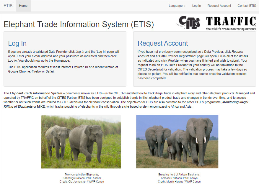 ETIS Online page